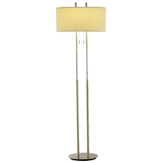 Modern Oval Floor Lamp with Ivory Oval Shade