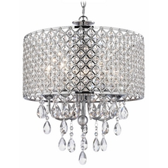 Ashford Classics Lighting Crystal Chrome Chandelier Pendant Light with Crystal Beaded Drum Shade 2235-26