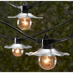 Outdoor String Lights with Galvanized Shades - Bulbs Not Included