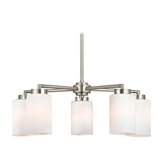 Design Classics Lighting Modern Chandelier with White Glass in Satin Nickel Finish 590-09 GL1024C