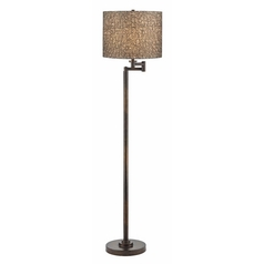 White and Silver Swing Arm Floor Lamp with Drum Shade