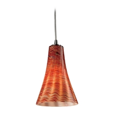 Elk Lighting Modern Mini-Pendant Light with Brown Glass 10221/1DSK