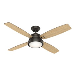 Hunter 52-Inch Noble Bronze LED Ceiling Fan with Light with Hand-Held Remote