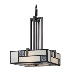 Pendant Light with Art Glass in Charcoal Finish