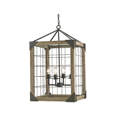 Modern Pendant Light in Old Iron/natural Ash Finish
