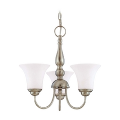 Mini-Chandelier with White Glass in Brushed Nickel Finish