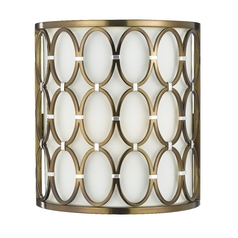 Sconce Wall Light with Beige / Cream Cage Shade in Satin Brass Finish