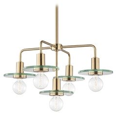 Mid-Century Modern Brass Chandelier Mitzi by Hudson Valley