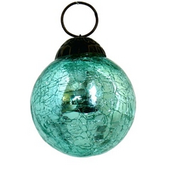 Culturas Trading Company Round Crackle Christmas Tree Ornament in Radium Green Finish SPEC-2