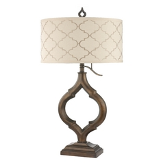 Marrakesh Table Lamp with Cream Drum Shade and Three-Way Switch