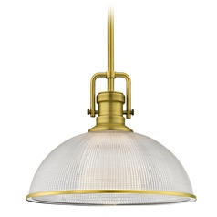 Industrial Prismatic Pendant Light Satin Brass Finish  13.13-Inch Wide