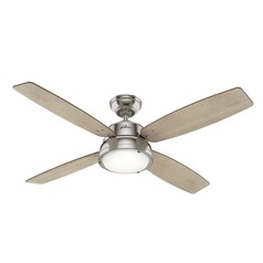 Hunter 52-Inch Brushed Nickel LED Ceiling Fan with Light with Hand Held Remote
