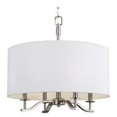 Feiss Lighting Hewitt Satin Nickel Pendant Light with Drum Shade