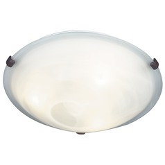 Modern Flushmount Light with Alabaster Glass in Weathered Brick Finish