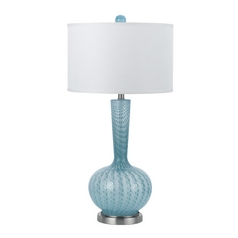 Table Lamp with White Shade in Nickel Finish