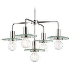 Mid-Century Modern Chandelier  Polished Nickel Mitzi by Hudson Valley
