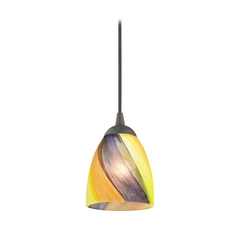 Bronze Art Glass Mini-Pendant Light with Bell Shade