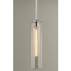 Chrome Mini-Pendant Light with Clear Seedy Cylinder Glass
