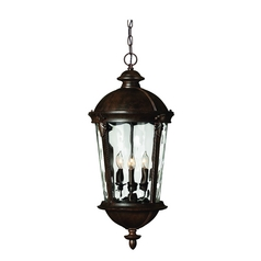 Hinkley Lighting Outdoor Hanging Light with Clear Glass in River Rock Finish 1892RK