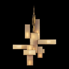 Fine Art Lamps Perspectives Patinated Golden Bronze Pendant Light with Rectangle Shade
