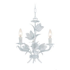 Mini-Chandelier in Wet White Finish