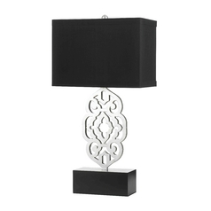 Table Lamp with Black Shade in Silver Foil Finish