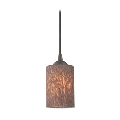 Design Classics Lighting Modern Mini-Pendant Light with Brown Art Glass 582-220 GL1016C