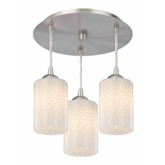 3-Light Semi-Flush Light with White Art Glass - Nickel Finish