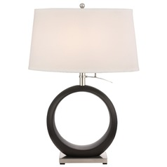 Transitional Satin Nickel Table Lamp with Eggshell Oval Shade