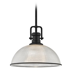 Industrial Prismatic Pendant Light Black Finish  13.13-Inch Wide