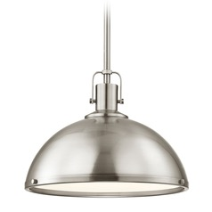 Nautical Satin Nickel Pendant Light 13.38-Inch Wide