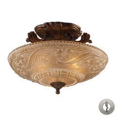 Restoration Flushes Golden Bronze Semi-Flushmount Light - Includes Recessed Adapter Kit