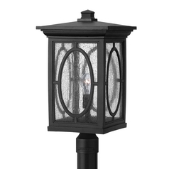 LED Post Light with Clear Glass in Black Finish