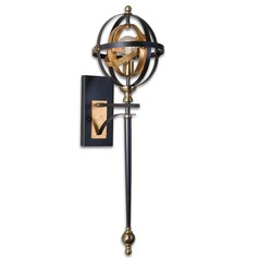 Mid-Century Modern Sconce Dark Oil Rubbed Bronze, Gold Rondure by Uttermost Lighting