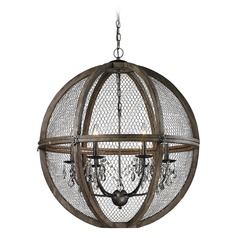 Large Renaissance Invention Wood And Wire Chandelier