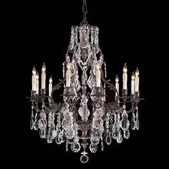 Crystal Chandelier in Oxide Brass Finish