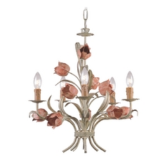 Crystal Mini-Chandelier in Sage/rose Finish