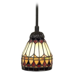 Tiffany Glass Mini-Pendant Light in Bronze Finish