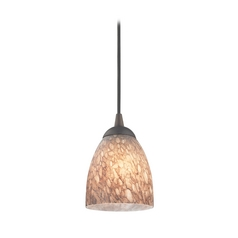 Design Classics Lighting Modern Mini-Pendant Light with Brown Art Glass 582-220 GL1016MB