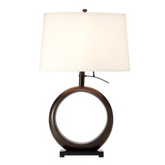 Transitional Bronze Table Lamp with Eggshell Oval Shade