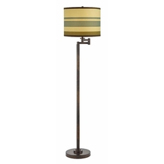Design Classics Lighting Bronze Swing Arm Floor Lamp with Drum Shade 1901-1-604 SH9542