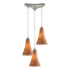 Elk Lighting Modern Multi-Light Pendant Light with Amber Glass and 3-Lights 10221/3amf