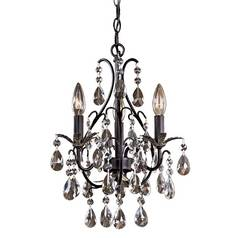 Mini-Chandelier in Castlewood Walnut W/silver Highlights Finish