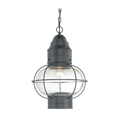 Quoizel Lighting Outdoor Hanging Light with Clear Glass in Mystic Black Finish COR1914K