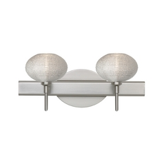 Modern Bathroom Light with Silver Glass in Satin Nickel Finish