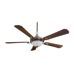 68-Inch Ceiling Fan with Light with White Glass in Belcaro Walnut Finish