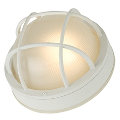 Marine Bulkhead Wall / Ceiling Light with Ribbed Glass in White Finish