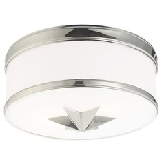 Seneca 2 Light Flushmount Light Drum Shade - Polished Nickel