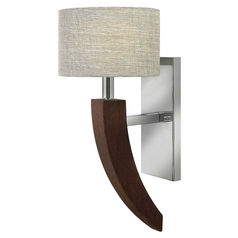 Sconce Wall Light with Beige / Cream Shade in Polished Chrome Finish