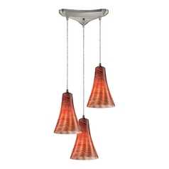 Elk Lighting Modern Multi-Light Pendant Light with Brown Glass and 3-Lights 10221/3dsk